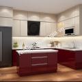 Tủ bếp gỗ sơn đỏ cho nhà bếp thêm ấm ngày đông