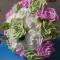 bó hoa hồng giấy 3 màu cầm tay
