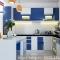 TỦ BẾP GỖ ACRYLIC ĐẸP - Tủ bếp Acrylic chữ L có bếp đảo đẹp màu trắng xanh dương