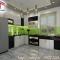 tủ bếp acrylic trắng đen phong cach, hiện đại